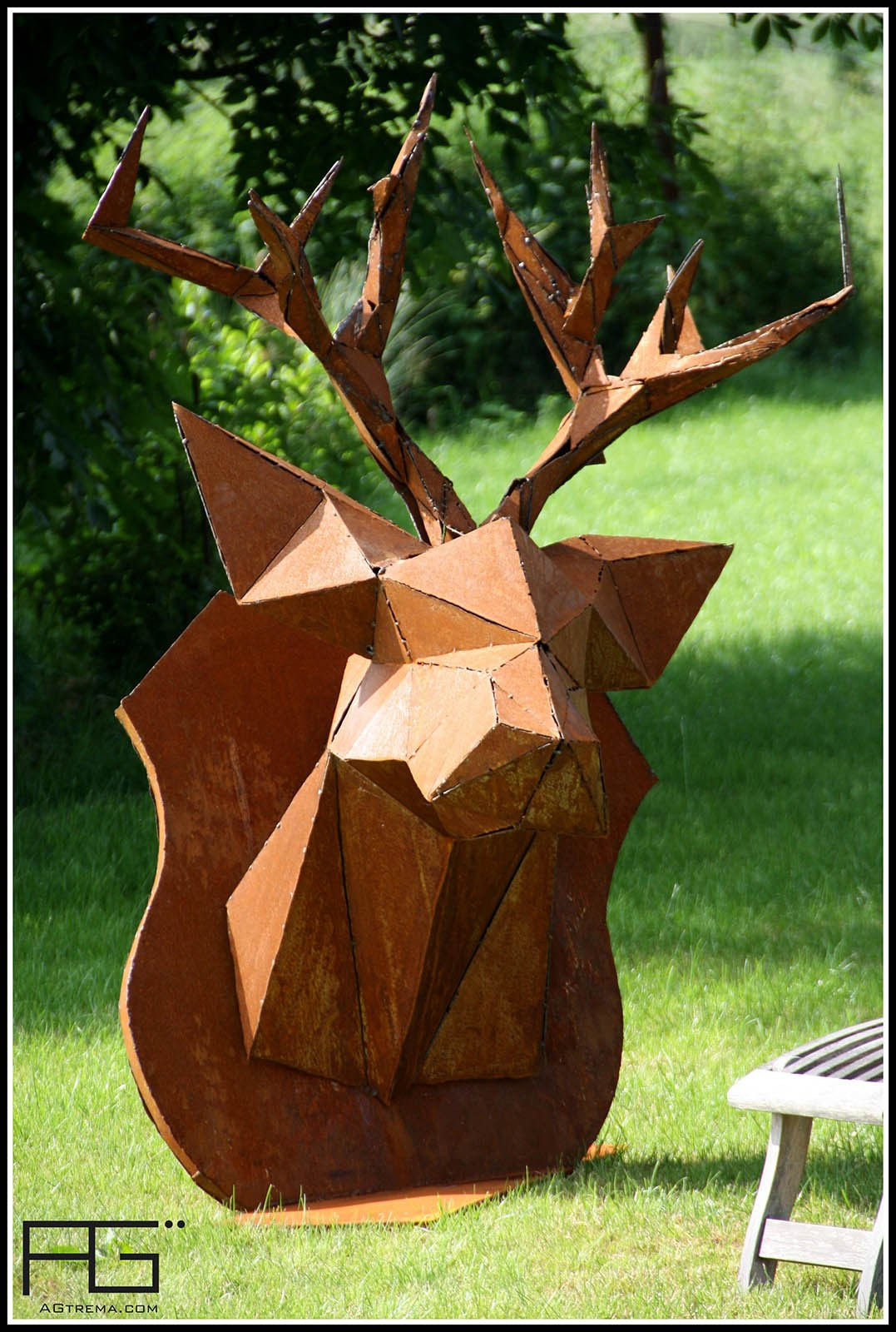 troph e tete de cerf origami en corten artisanat d 39 alsace. Black Bedroom Furniture Sets. Home Design Ideas