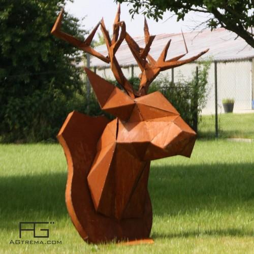 Sculpture Trophée tête de Cerf géante en acier Corten, fabriqué en france, made in france