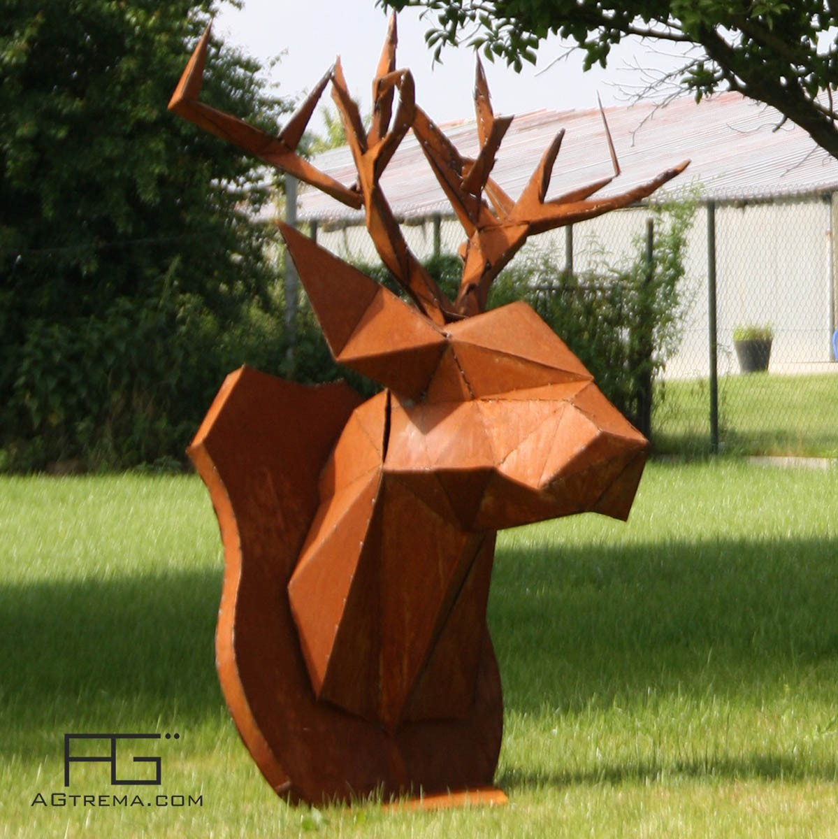 troph e tete de cerf origami en corten artisanat d 39 alsace agtrema. Black Bedroom Furniture Sets. Home Design Ideas