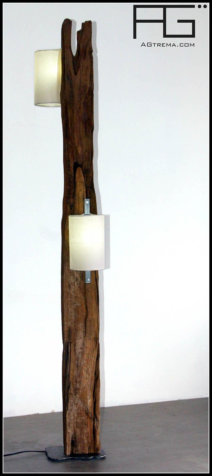 Lampe en bois flotté, poutre de bois, artisanat d\'Alsace - AGtrema