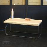 """Table basse """"Axis"""". Style industriel, en acier et bois massif aux bords bruts, Live-Edge. AGtrema, Artisan Francais, table dispo"""