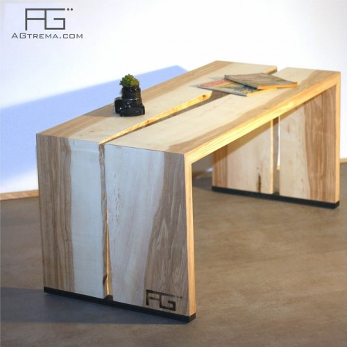 Table basse Fluere bords brut Live-edge Frêne-olivier