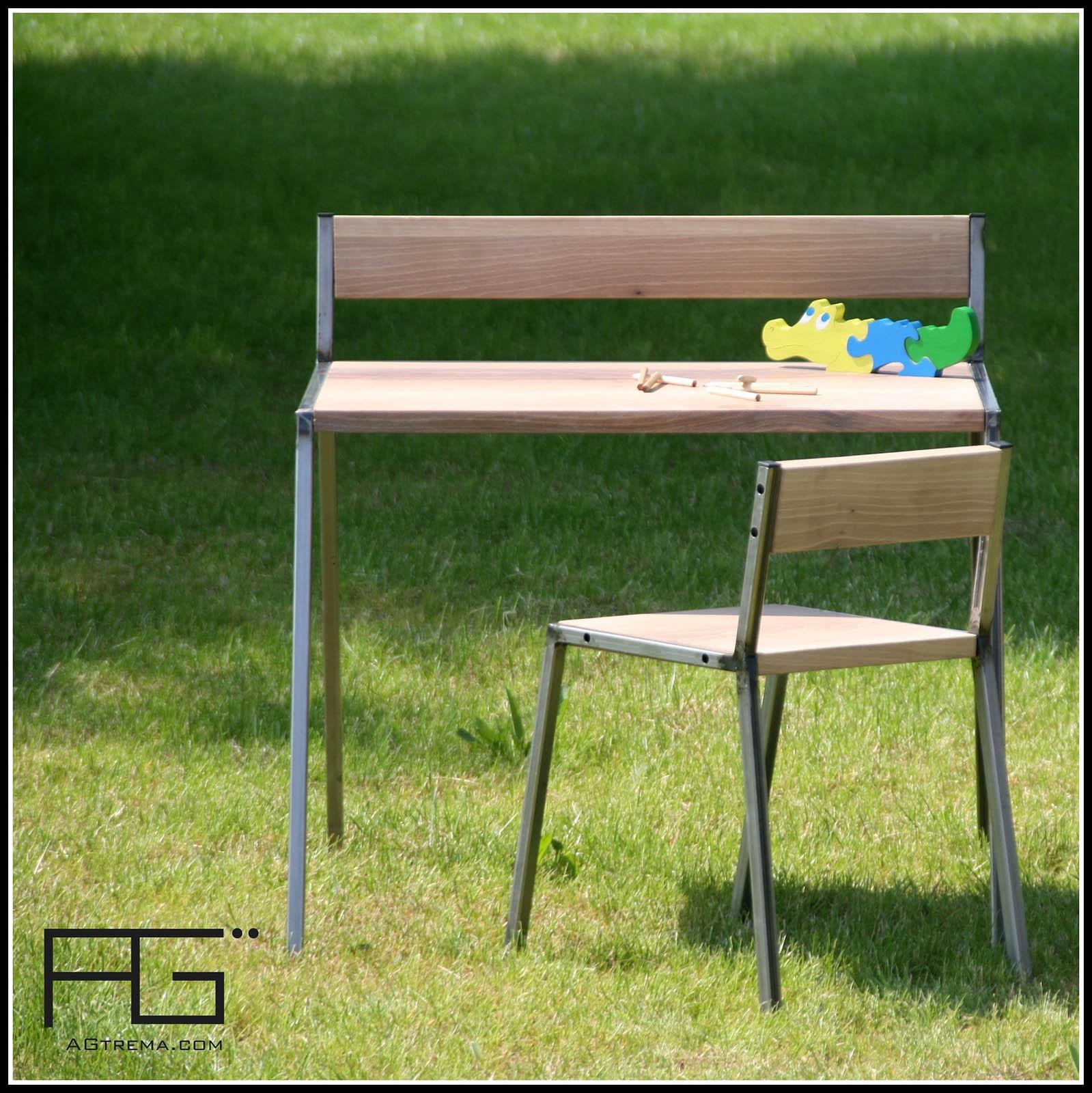 bureau enfant bella 2 8 ans bois massif acier artisanat. Black Bedroom Furniture Sets. Home Design Ideas
