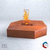Brasero en acier Corten Rhombŏs, artisanal et fabriqué en France par AGtrema