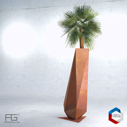 Bac à plante Corten Low-poly 1