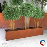 Bac a plantes en acier corten made in france, jardiniere Recta