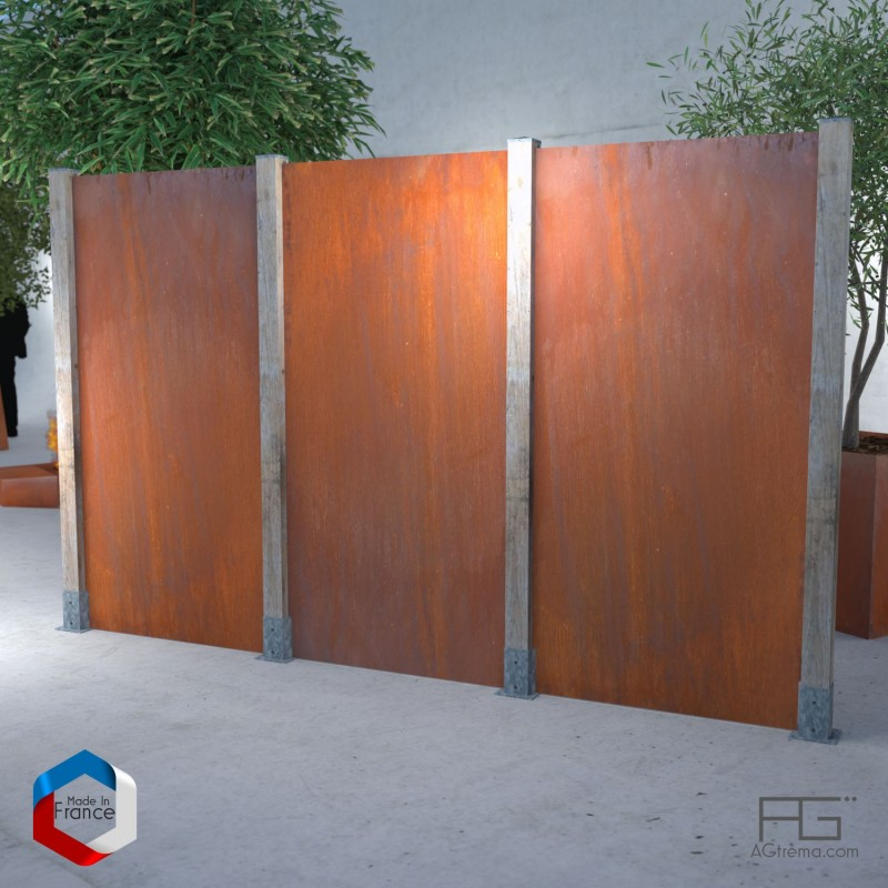 clotures tendance en acier corten et poteau bois occludo. Black Bedroom Furniture Sets. Home Design Ideas
