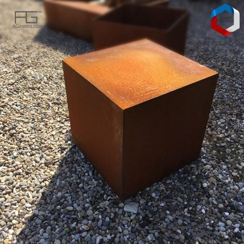 Socle et supports en acier Corten Fulcĭo pour sculptures ou plantes, sur mesure