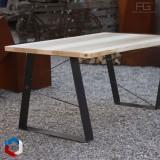 Table live-egde plateau bois massif et pieds acier made in france - AGtrema