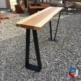 Console live-egde plateau bois massif et pieds acier - AGtrema