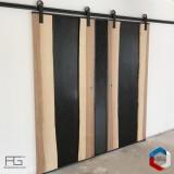 Portes coulissantes live-edge bois massif Gènus 2x 90cm, insert acier noirci, roulements T1