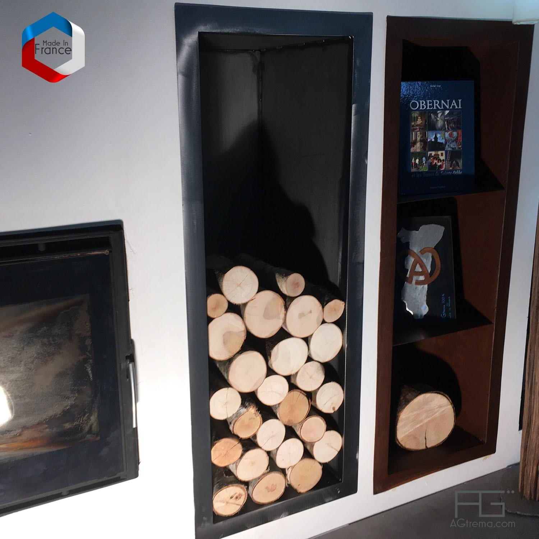 Rangement Pour Le Bois niche murale à bois sur-mesure, rangement buches de cheminée