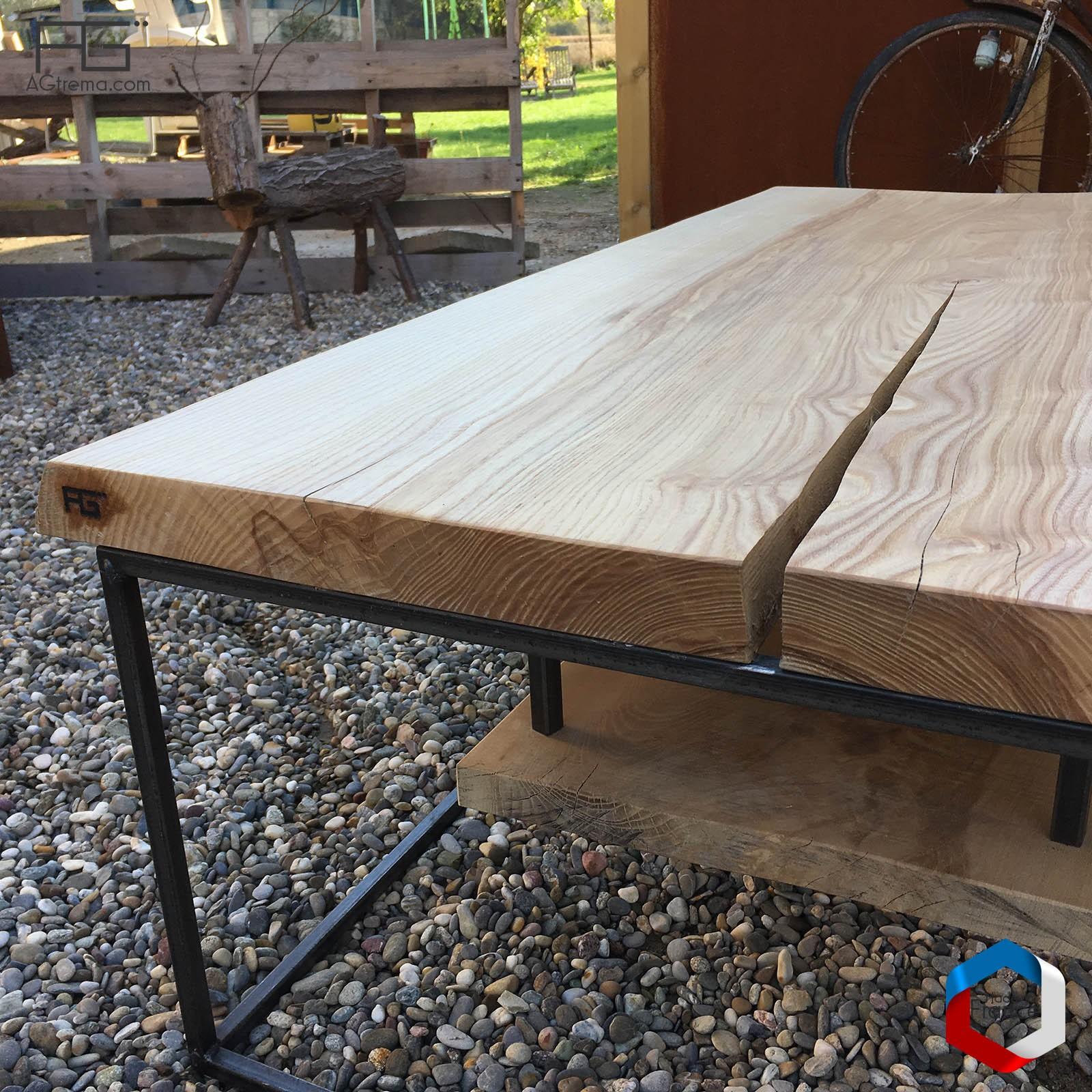 table basse axis p acier bois live edge planche brute. Black Bedroom Furniture Sets. Home Design Ideas