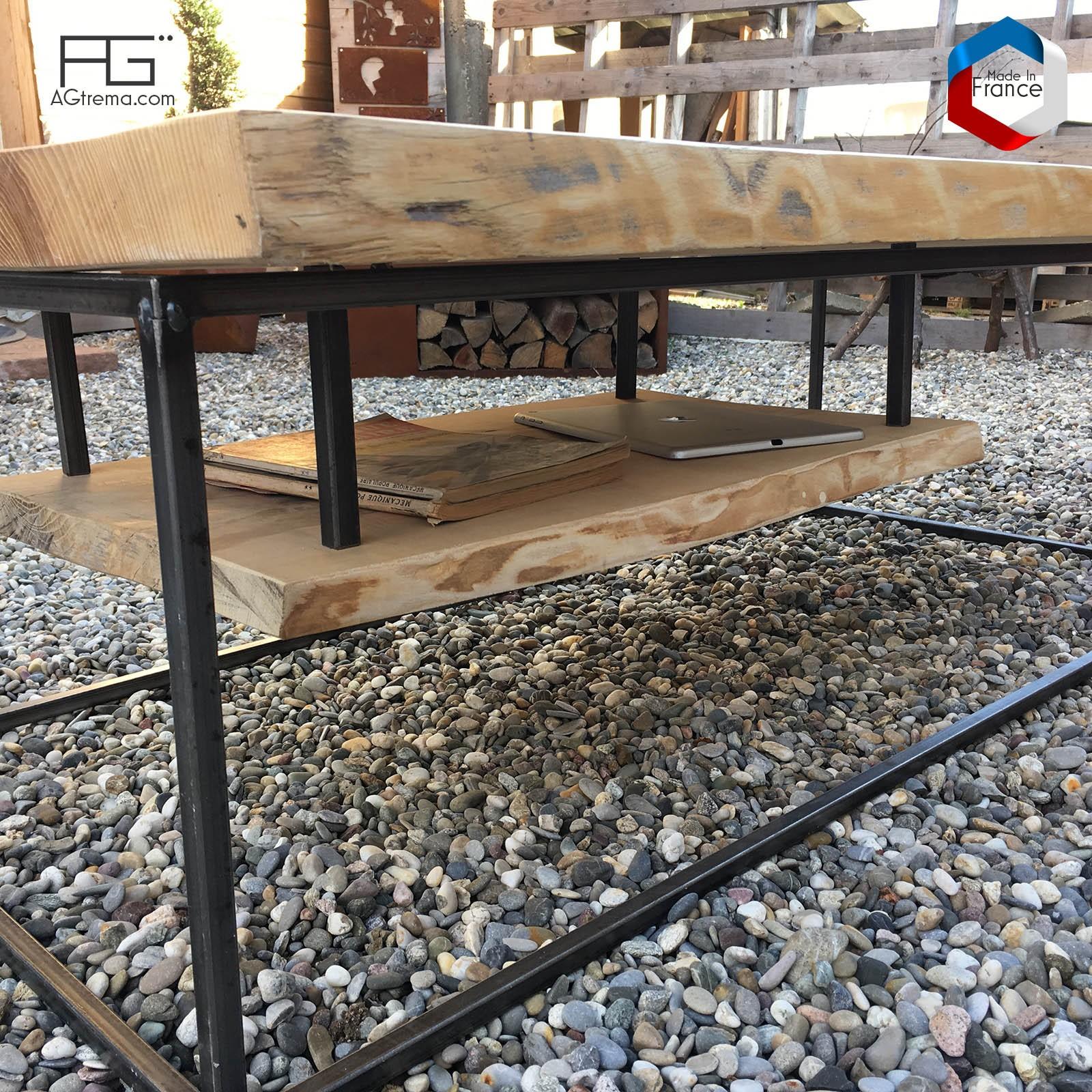 Table Basse Axis P Acier Bois Live Edge Planche Brute Agtrema
