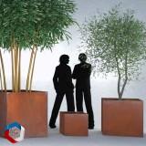 Pot Bac à fleurs en forme de cube - Cŭbus - en acier corten rouillé fabriqué en france par AGtrema