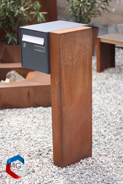 support boite aux lettres en corten effet rouille agtrema. Black Bedroom Furniture Sets. Home Design Ideas