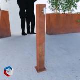 """Colonne d'eau en corten sīlān, modèle présenté 10x10cm h100cm avec socle, avec robinet inox 1/2"""""""