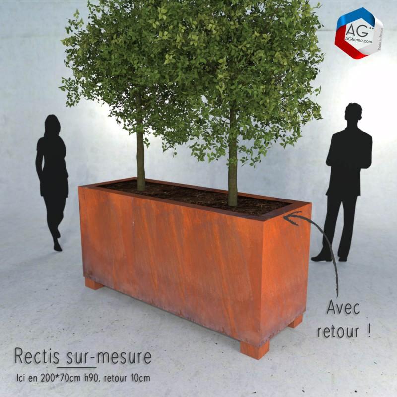Bac a plantes en acier corten made in france, jardiniere Rectis