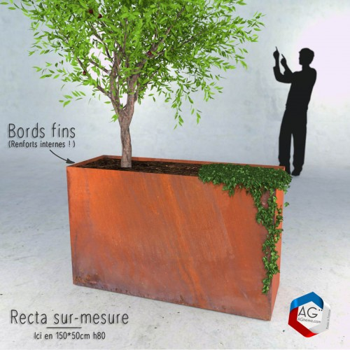 Bac plantes rectangulaire Corten Recta