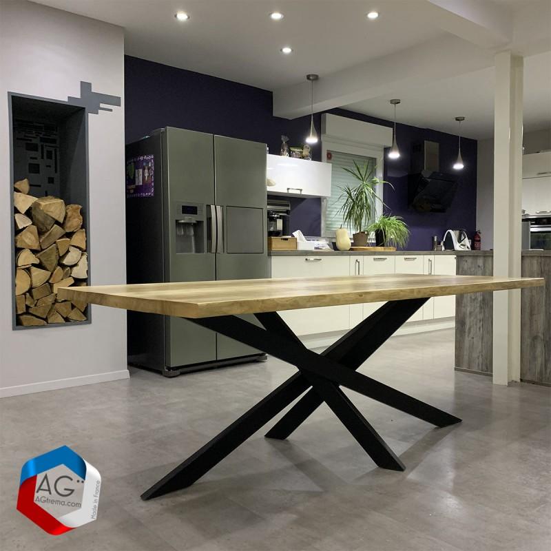 Table live-edge, Pieds type Mikado - Loxias - Acier et bois massif