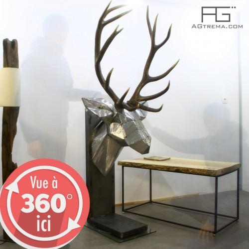 Sculpture en acier brut, Trophée tete de cerf Origami en acier brut poncé, mues naturelles de cerf, artisanat d'Alsace, AGtrema