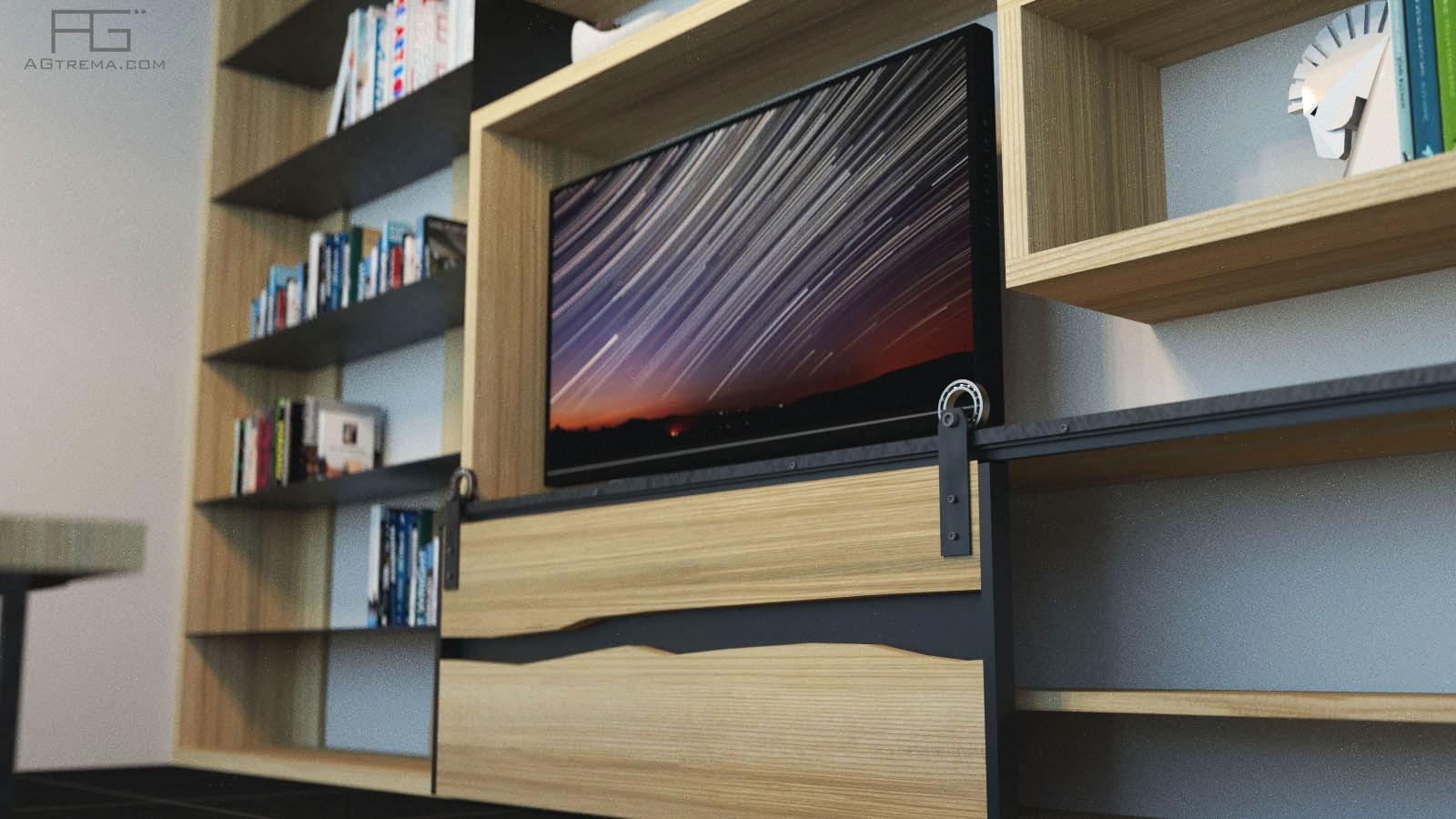 Meuble bibliothèque en bois massif et acier sur mesure - AGtrema