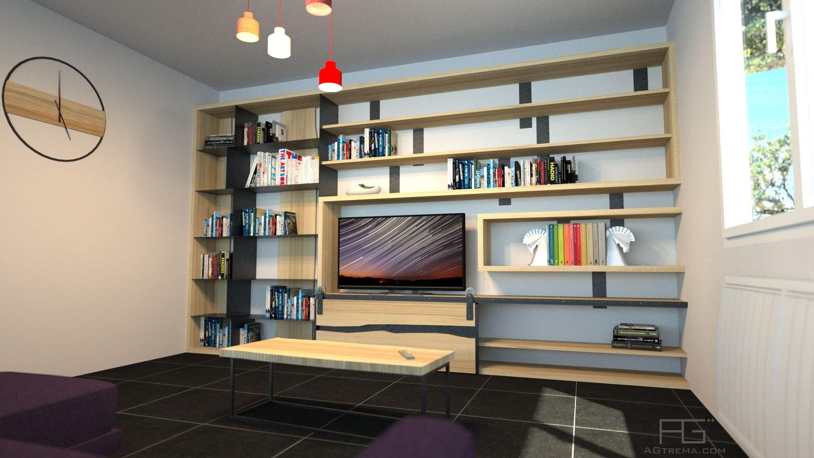 meuble biblioth que en bois massif et acier sur mesure. Black Bedroom Furniture Sets. Home Design Ideas