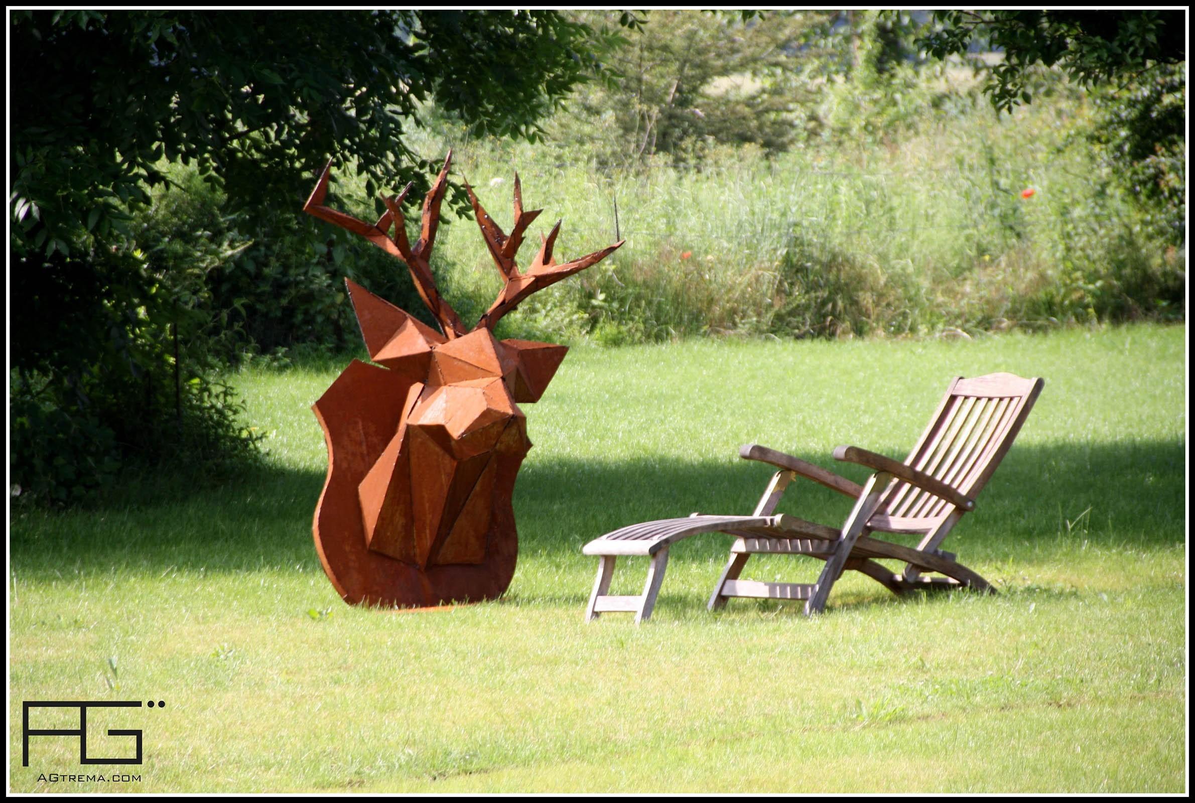 troph e tete de cerf origami en corten artisanat d 39 alsace. Black Bedroom Furniture Sets. Home Design Ideas