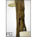 Lampe en bois flotté artisanale, modèle double. Fabrication française par AGtrema