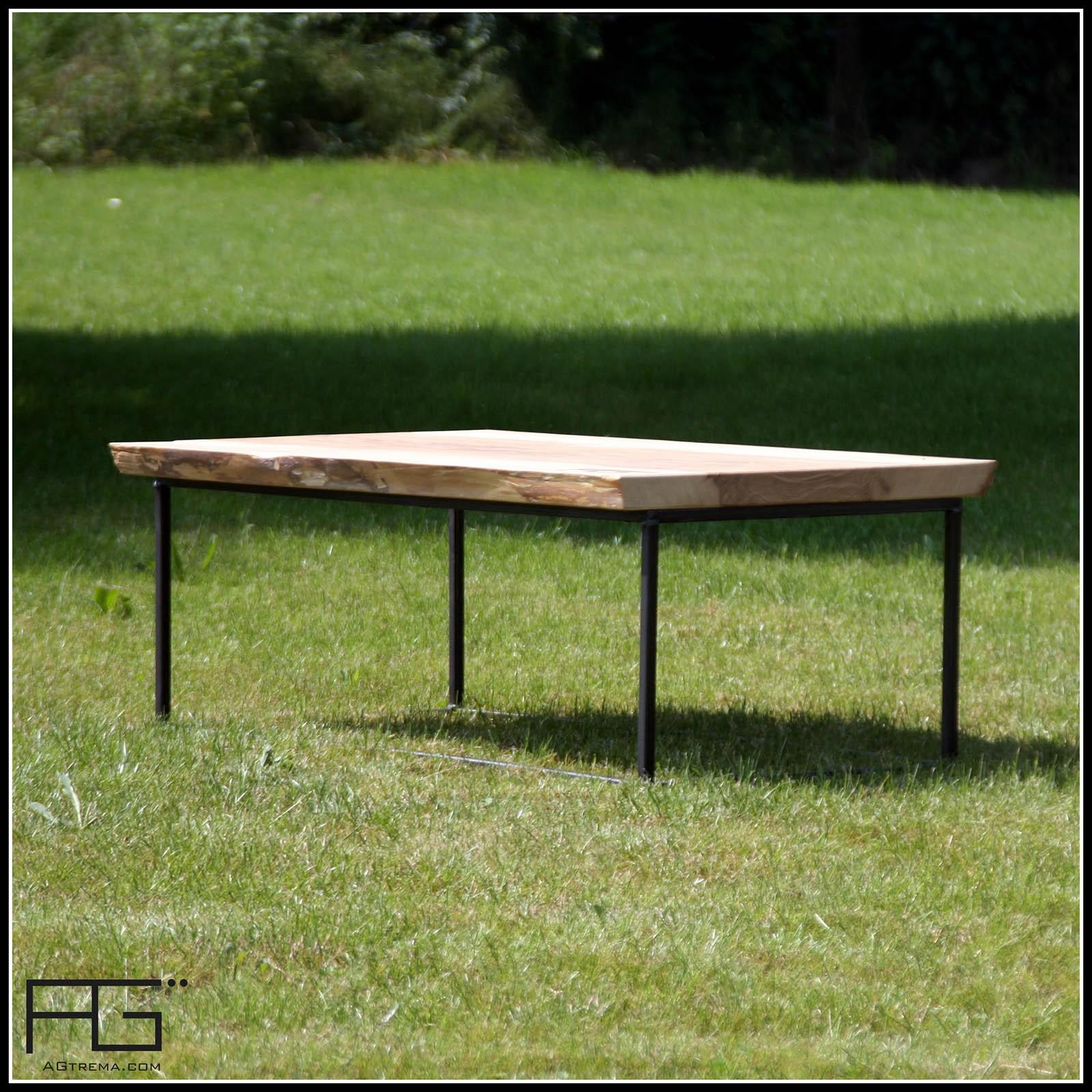 table basse axis design industriel acier et bois live edge agtrema. Black Bedroom Furniture Sets. Home Design Ideas