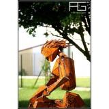 Femme en tailleur en equilibre, Sculpture Acier corten