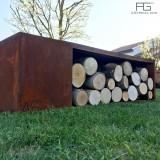 Brasero Corten en acier Corten avec rangement range bois et buches, artisanal et fabriqué en france par AGtrema