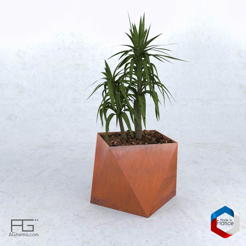 bac fleurs triangles moderne et original en acier corten agtrema. Black Bedroom Furniture Sets. Home Design Ideas