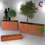 Bac a plantes en acier corten made in france, jardiniere Recta