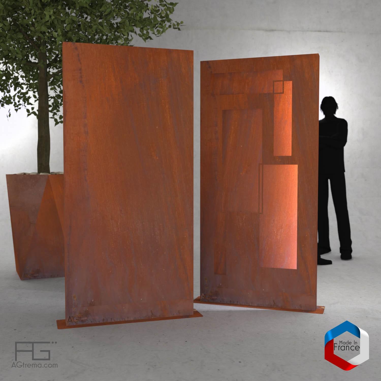 brise vue modernes en acier corten agtrema. Black Bedroom Furniture Sets. Home Design Ideas