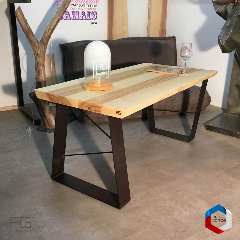 Table basse live egde plateau bois massif et pieds acier - Plateau de table en bois epais ...