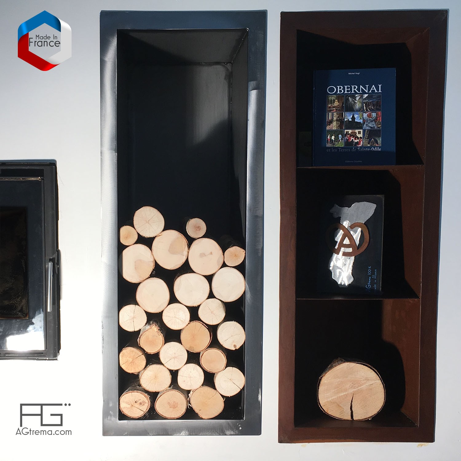 niche murale bois sur mesure rangement buches de chemin e agtrema. Black Bedroom Furniture Sets. Home Design Ideas