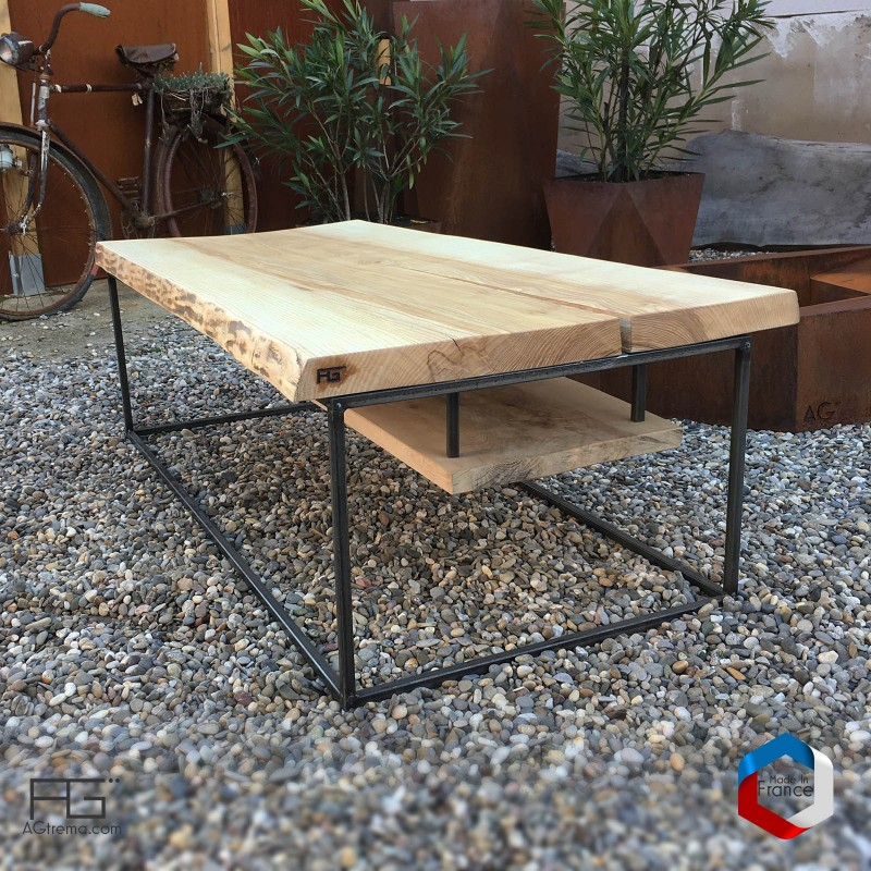 Table basse - Axis pĕrītus- planche live-edge épaisse, made in France