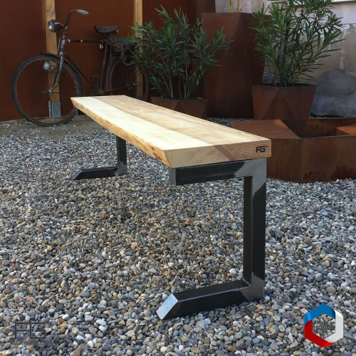 Banc live-edge en bois massif et pieds acier- Bucula lĕvis - Made in france - AGtrema